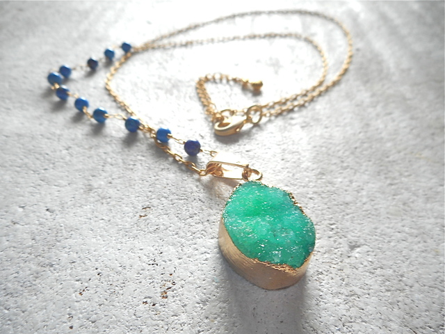 �����Druzy Ocean Necklace--Green