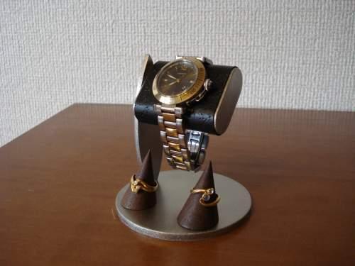 ブラックコルク腕時計スタンド ダブルリングスタンドバージョン