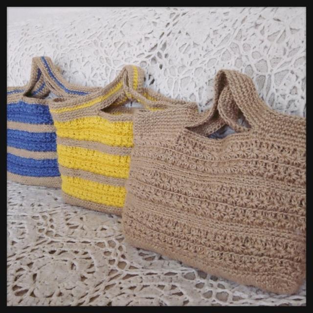 麻ひもの手編みカラフルバッグ