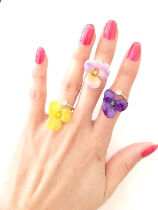 glass flower ring☆petit pansy☆全3色