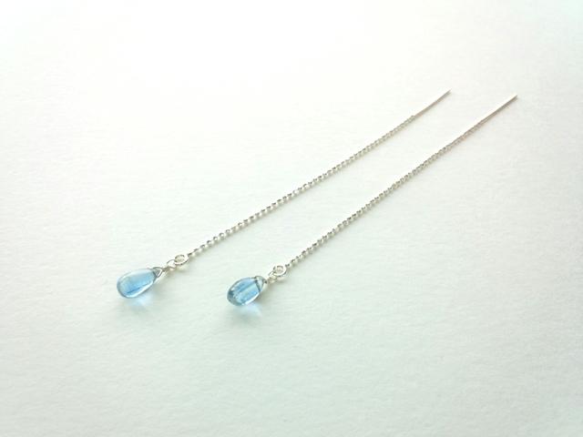 【Silver925】雫型カイヤナイトのアメリカンチェーンピアス