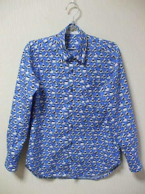 メンズ 台衿付き長袖シャツ Mサイズ 青地×パンダ柄