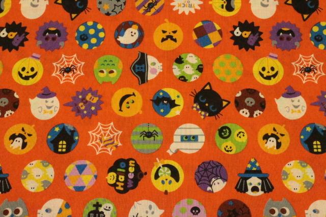 ハロウィン柄 ボール オレンジ色 紫×黒 シーチング生地