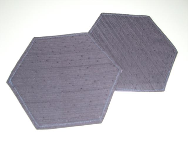 きもの地で作った六角形コースター二枚組