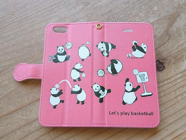 4c6964dfe7 パンダ の バスケットボール /手帳型 スマホケース/ iPhone ケース サーモン