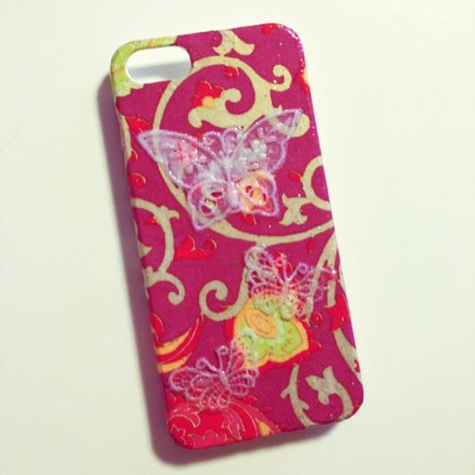 iPhone5ケース(レース蝶)