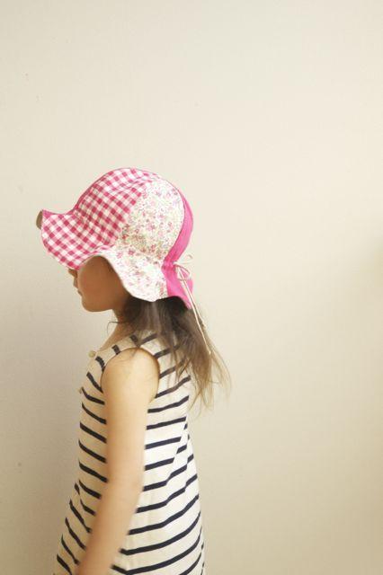 【S様ご予約分】kidsリバーシブルフラワーハット(ピンク系mixMサイズ)