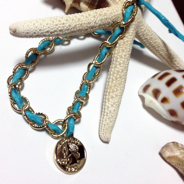 Chain Bracelet(Sea Blue and Plate)