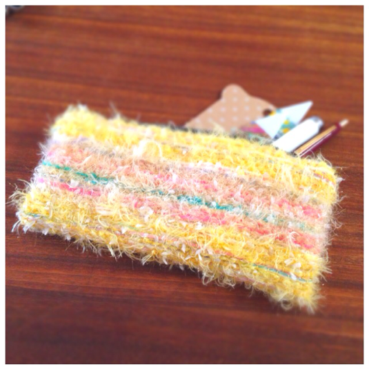 ひよこみたいな手織りポーチ*