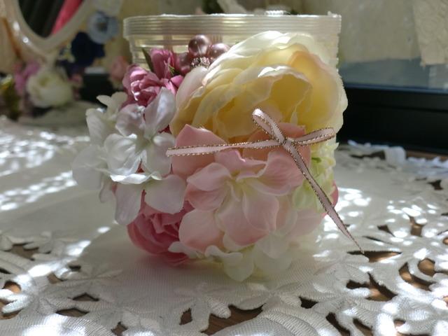 エクラフトとお花いっぱいのペン立て<...