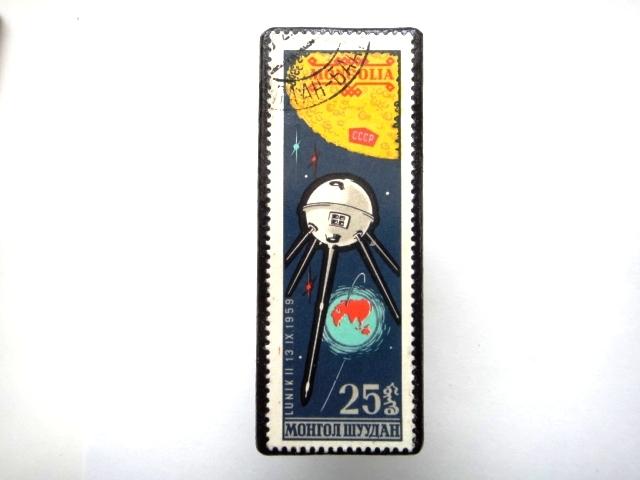 モンゴル 宇宙切手ブローチ885