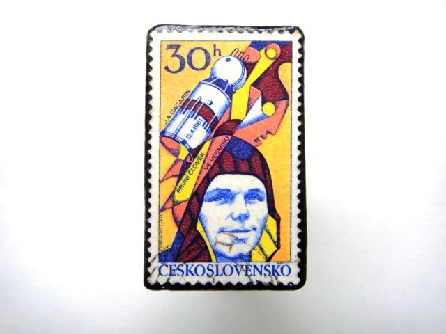 チェコスロバキア 宇宙切手ブローチ888