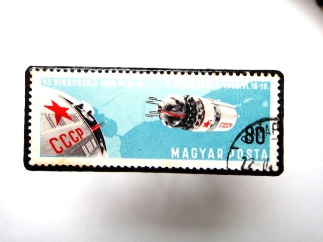 ハンガリー 宇宙切手ブローチ893