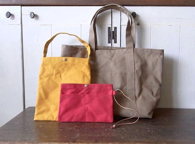 K様オーダー品/パラフィン帆布のトートバッグL・ぺたんこバッグ・バッグインバッグ