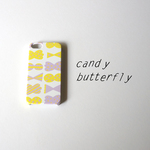 【iPhone / Android】側表面印刷*ハード型*スマホケース「candy butterfly ( yellow × smoky purple )」