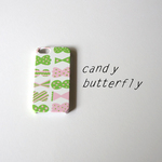 【iPhone / Android】側表面印刷*ハード型*スマホケース「candy butterfly ( pink × green )」