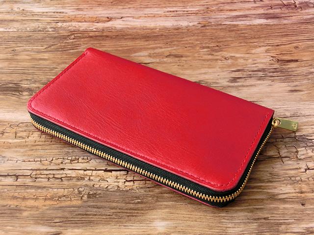 151f0bf9838b 本革レッド♪収納力バツグン!! ロングウォレット 長財布 ファスナーウォレット レザー財布 ラウンドジップ 赤色