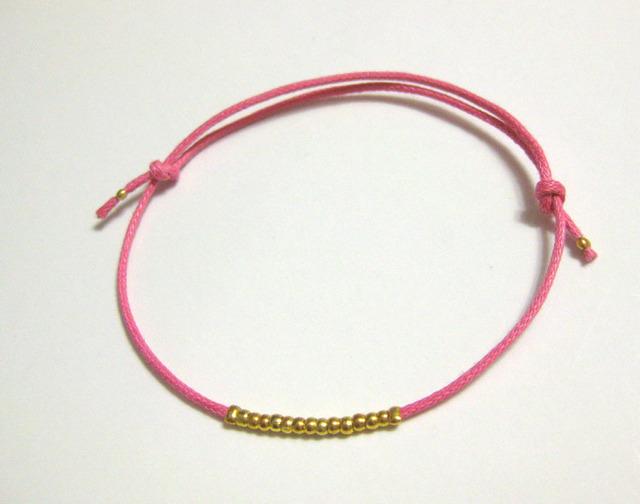 メタルビーズ コードブレス /pink