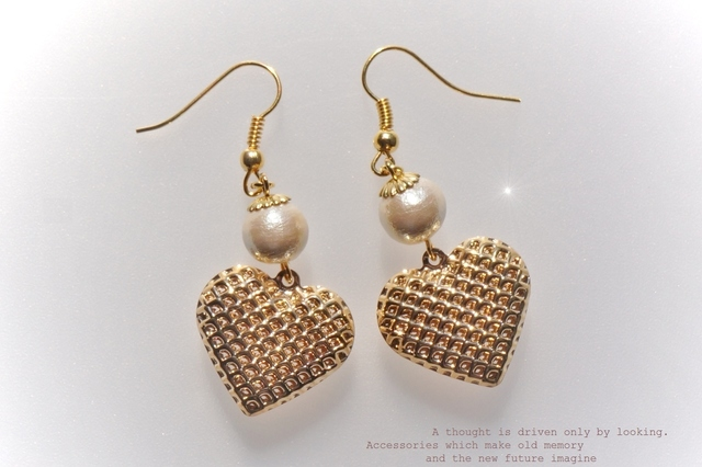 *mesh☆HEART*ピアス【gold&cottonpearl】