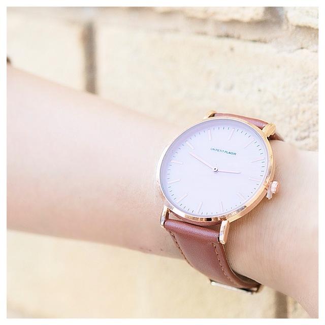 3ef77c3606 当店1番人気【パールピンクが可愛い】腕時計 シンプル ライトブラウン レディース メンズ レザー ベルト交換可能 新生活におすすめ