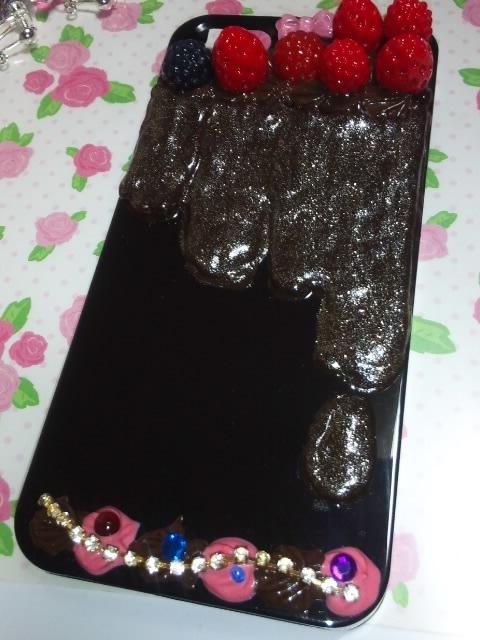 ハンドメイド★iPhone5★iPhone5s★ケース★チョコ★デコ★黒