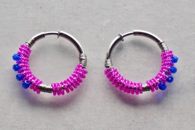 再販*simple*beads◇フープイヤリング【vivit】