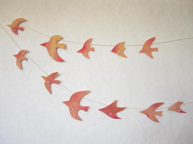 水晶と鳥のガーランド