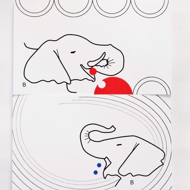 若いゾウメッセージカード2種