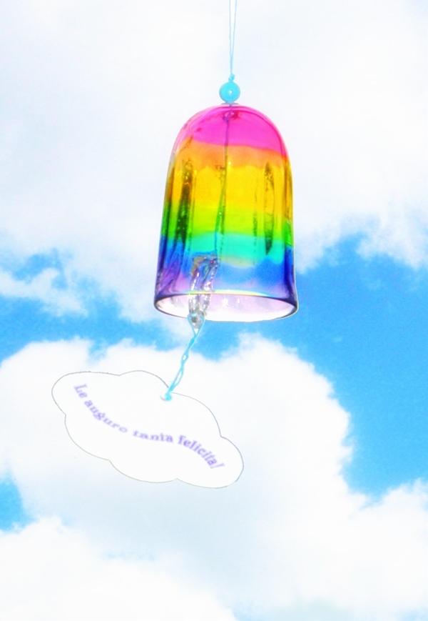 虹色ガラスの風鈴?ベル型 *要 在庫、納期確認