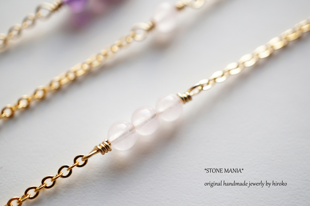 ?Stone long necklace?ローズクォーツ?