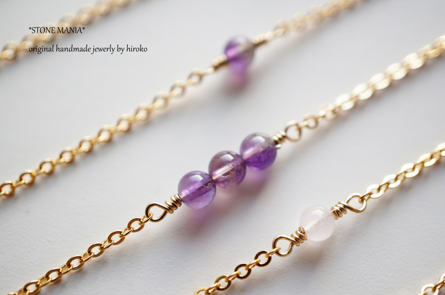 ?Stone long necklace?アメジスト?