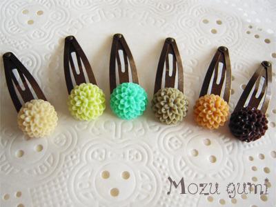 ボタンマムのパッチン留め(グリーン系6色)