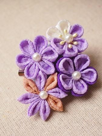 つまみ細工 紫いろのブローチヘアピン