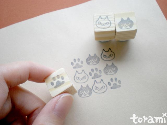 猫の顔+肉球のはんこセット10