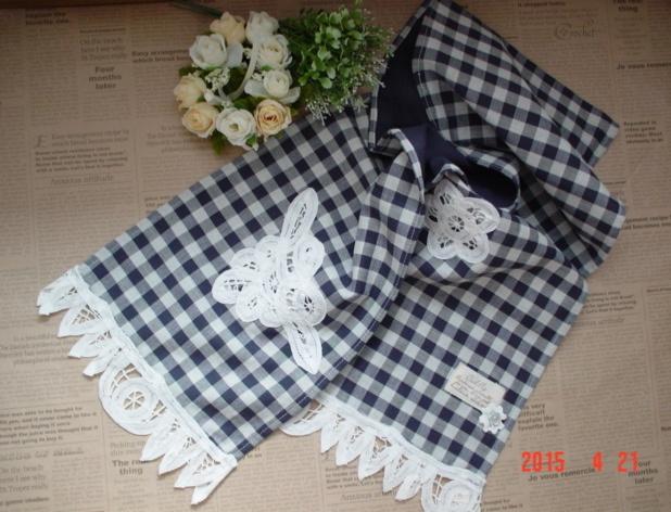 ☆彡バテンレース&ginghamcheckのdoubleガーゼのスカーフ