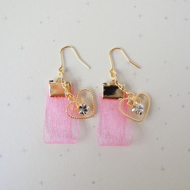 ??OUTLET SALE?? lightly jewel fringe ハートピンク
