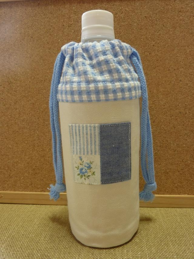 水色のお花のペットボトルケース