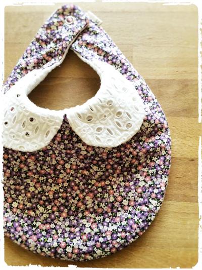かわいいスタイ *刺繍衿×小花柄* パープル