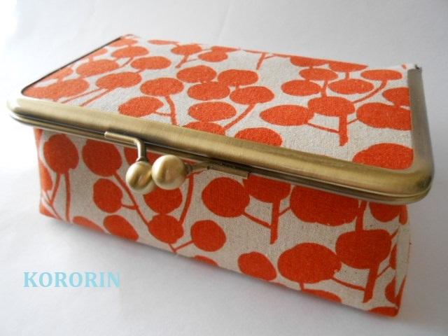 (試作品)BOX型がま口・木の実・オレンジ・底鋲付き