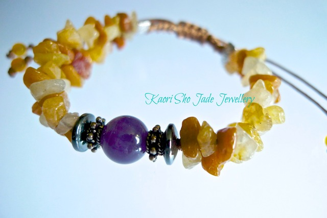 ブレスレット/Brown Jade Chips/Amethyst/Yellow Ocher Asian Knot Code
