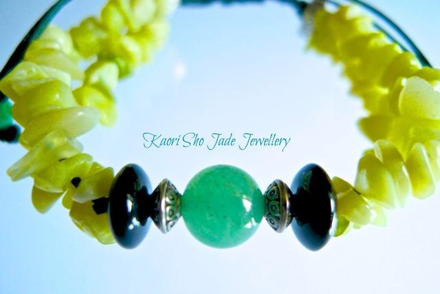 ブレスレット/Yellow Jade Chips/Nephrite/Dark Green Asian Knot Code