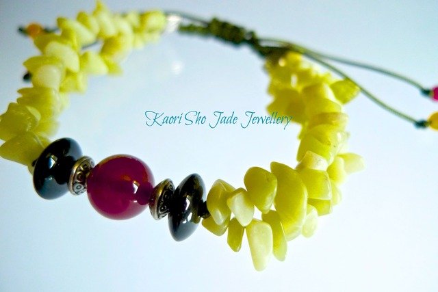 ブレスレット/Yellow Jade Chips/Red Agate/Dark Green Asian Knot Code