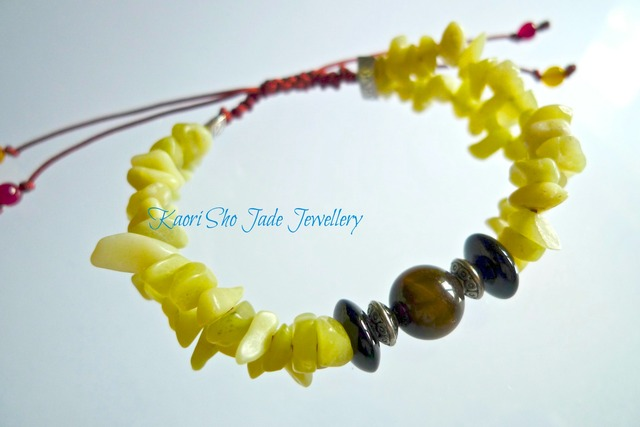 ブレスレット/Yellow Jade Chips/Tigers Eye/Brown Asian Knot Code