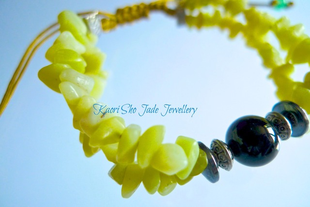 ブレスレット/Yellow Jade Chips/Black Agate/Yellow Ocher Asian Knot Code