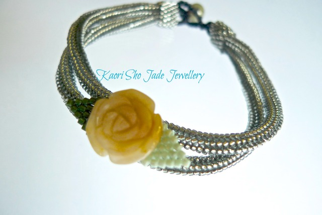ブレスレット/Yellow Honey Jade Rose /Silver - Lined Gray Glass Beads