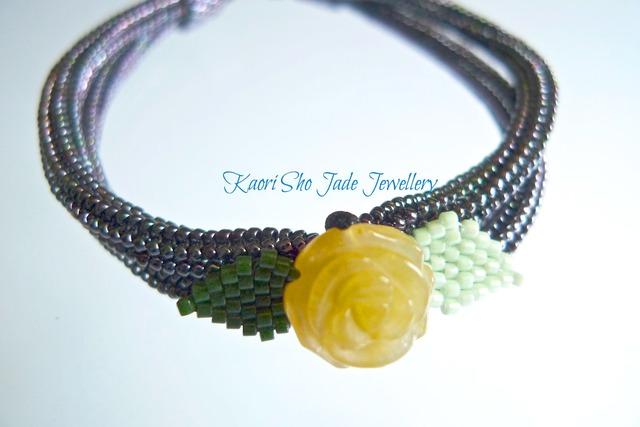 ブレスレット/Yellow Honey Jade Rose /Metallic Amethyst Gunmetal Glass Beads