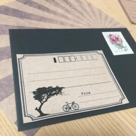 宛名シール【自転車(ロードバイクと木)】