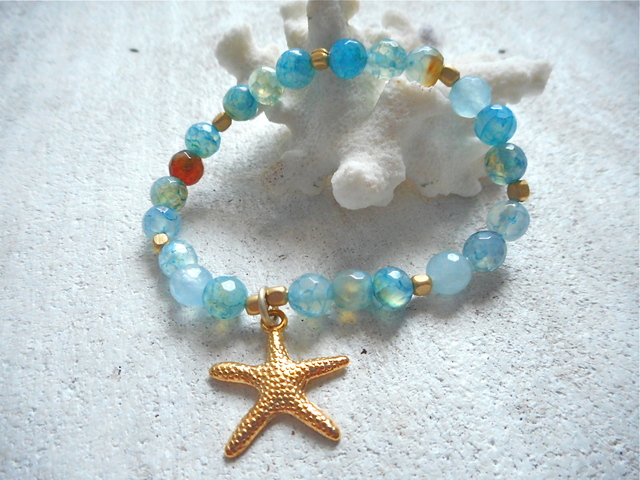 Dragon Agate Ocean Bracelet with starfish--blue/green