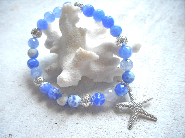 Dragon Agate Ocean Bracelet with starfish--blue