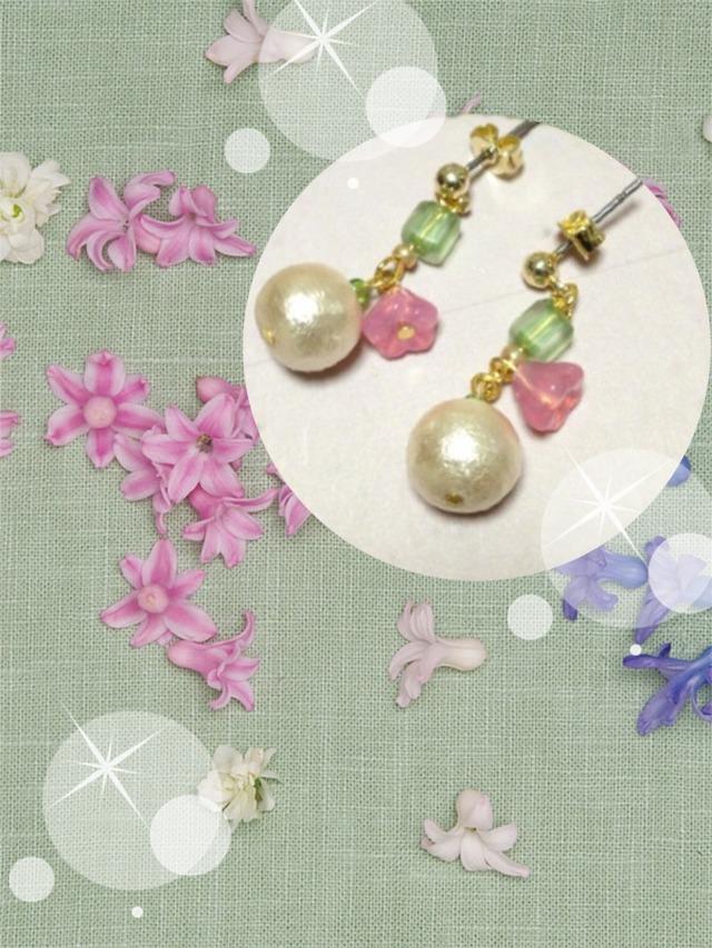 コットンパールとお花のピアス(イヤリング変更可)